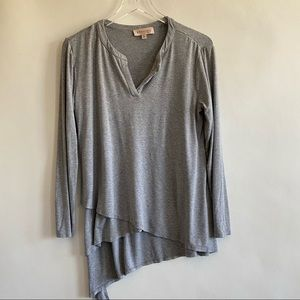 Grey Philosophy top with uneven layers size medium